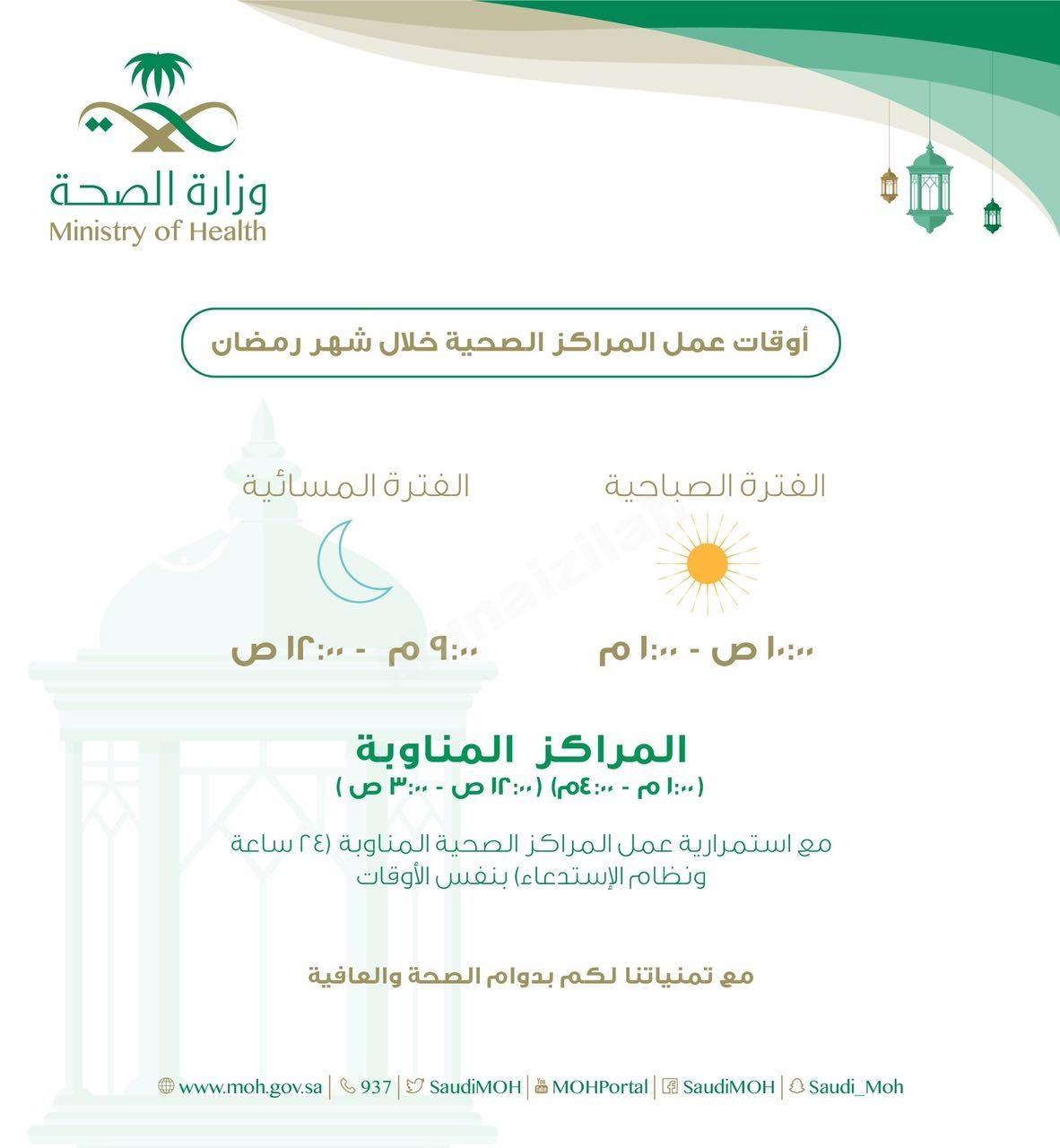 أوقات عمل المراكز الصحية في شهر رمضان المبارك