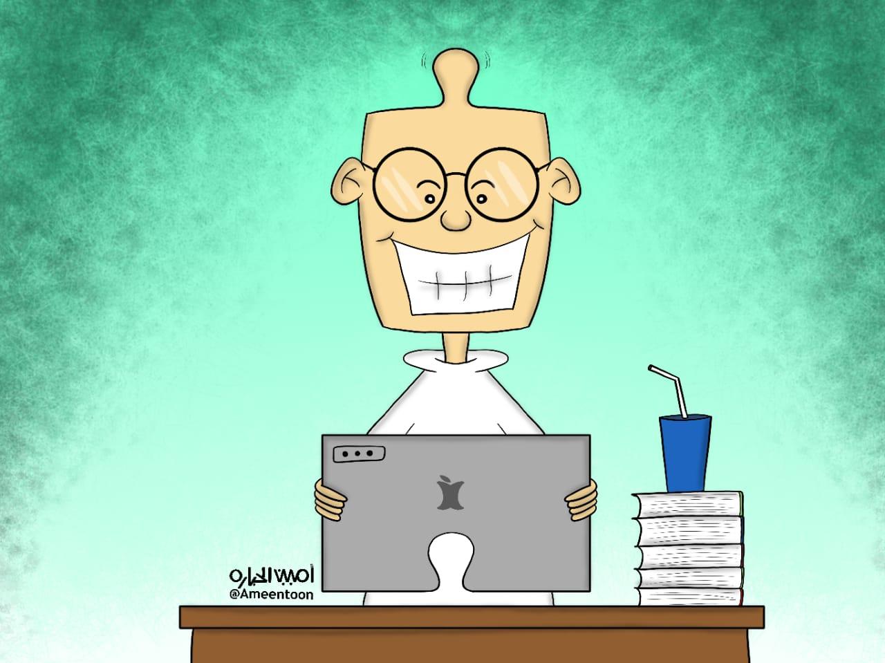 """كاريكاتير """" التعليم عن بُعد """""""