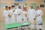 """معرض """" صحة ونقاء """" الإرشادي يثري طلاب ومعلمي المدرسة السعودية الثانوية بالمنيزلة"""